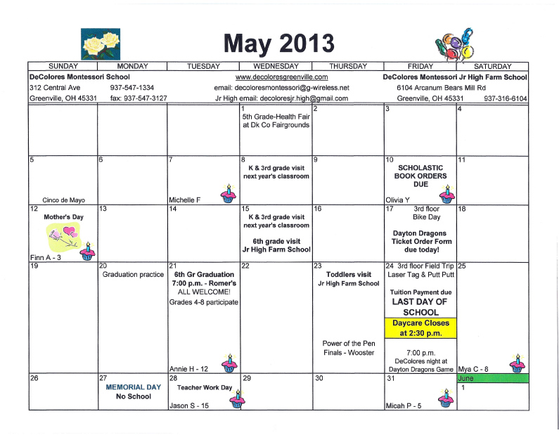 Calendar May Events : Calendar decolores montessori s